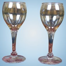 Set of Two Vintage Riekes Crisa Hand Blown Old Mexico Doll Wine Glasses Translucent Auburn Beautiful for Your Bebe