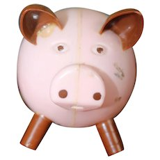 Vintage Plastic Wind Up Toy Pink Pig Works Great from the 50's/60's