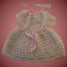Precious Tiny Crochet Doll Dress with Matching Bonnet Booties and Undies