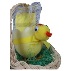 Little Easter Chick in a Basket Candy Container Vintage