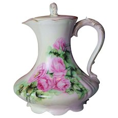 Stunning Limoges Hand Painted Chocolate Set  Each Piece Individually Initialed by Artist  Beautiful Roses