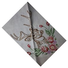 Vintage Table Cloth Hand Embroidered Gorgeous Stag Deer 33 x 34