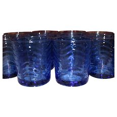 Vintage KIG Indonesia One Dozen Cobalt Blue Juice Glasses 8 Oz Beautiful Pristine