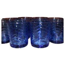 Vintage KIG Indonesia One Dozen Cobalt Blue Juice Glasses 8 Oz Beautiful Pristine