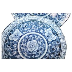 4 Antique 1880's Soup Bowls Blue and White and Stunningly Beautiful