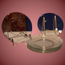 """Vintage Anchor Hocking Clear Glass Dessert Plates 6"""" Set of 6 Very Nice"""