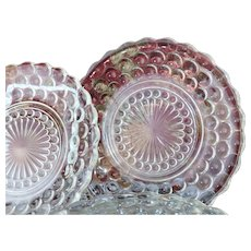 "Vintage 6.5"" Glass Hobnail Dessert Plates Set of 6"