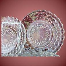 """Vintage 6.5"""" Glass Hobnail Dessert Plates Set of 6"""