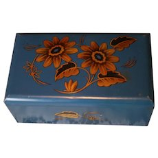 Vintage Blue Tin Trinket Box for Jewelry and Doll Items