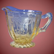 Vintage Depression Glass Creamer with an Amber Glow Beautiful