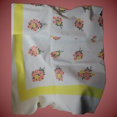 Beautiful Vintage Table Cloth with Roses and Yellow Boarder 51 x 48 Very Nice