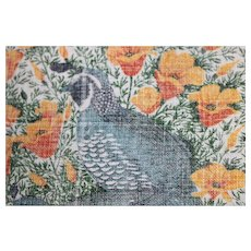 Vintage Cotton Rectangular Material with Quails and Yellow Flowers for Crafts Perhaps