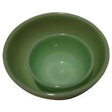 "Two Vintage Fire King Jade-ite Bowls 4 1/2"" and 7"" Smooth"