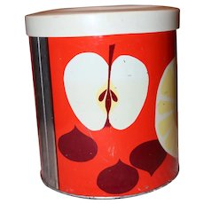 Vintage Lovely Tin Grease Can with Fruit