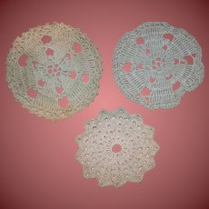 3 Small Hand Crochet Doilies Very Nice