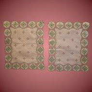 """Two Vintage Table Toppers 12"""" x 10"""" Stunningly Beautiful"""