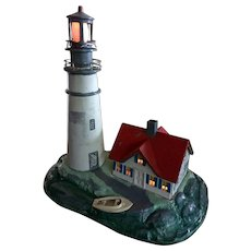 1940s Cast Metal Lighthouse & Nightlight