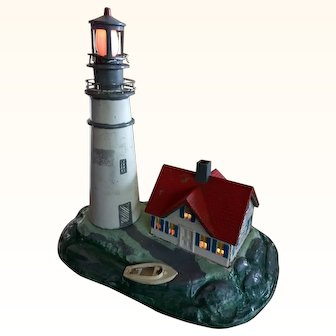 1940s Cast Metal Lighthouse & Nightlight