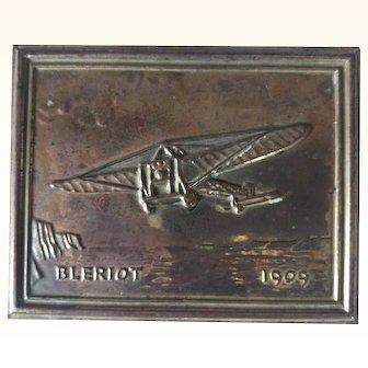 Souvenir Brass Plaque Commemorating the 1909 Bleriot Flight