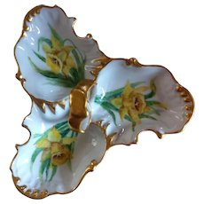 "Hand-painted Daffodil Candy Dish, signed ""J. Maxwell"""