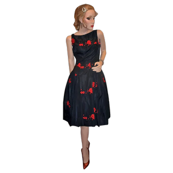 David Hart 1950's Black and red Cocktail Dress