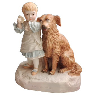 """Robinson and Leadbetter Child & Dog Figurine """"Don't Be Greedy"""""""