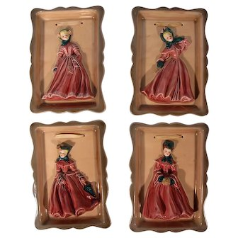 Florence Ceramics Victorian Style Lady Wall Plaques