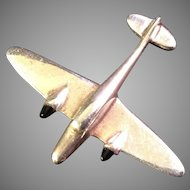 Vintage Sterling Silver and Onyx Airplane Pin
