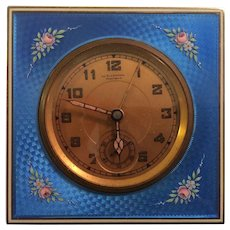 Art Deco Sterling Blue Guilloche Travel Alarm Clock