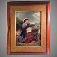 Ca. 1860 Oil Painting of Young Woman Sketching in a Landscape
