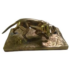 Brass Sculpture of Hunting Dog