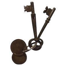 Vintage Iron Skeleton Keys and Brass Tags