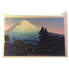 Takahashi Shotei Woodblock Print-Fuji from Mizukubo