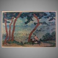 "Elizabeth Keith Woodblock Print ""Morning Mists-Korea"""