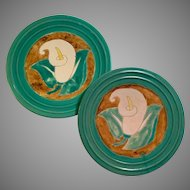 Set of 2 San Jose Pottery Calla Lily Pattern Dinner Plates