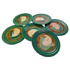 Set of 6 San Jose Pottery Calla Lily Pattern Luncheon Plates