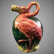 Antique Majolica Flamingo Jug