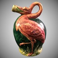 Antique Majolica Flamingo Jug