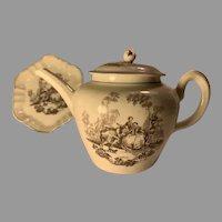 Robert Hancock (1731-1817) Transfer Ware Teapot and Tray