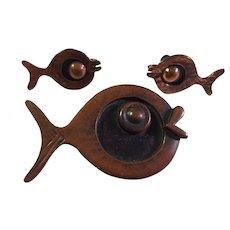 Rebajes Art Deco Copper Fish Pin and Earrings