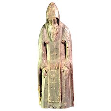 Carved Wooden Santos of a Medieval Monk