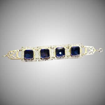 Vintage Bracelet of Chrome-plated Brass and Cut Blue Glass