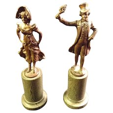 Pair of Opitz Bronze Circa 1910 Figurines