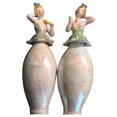 Pair of Lady Figurine Perfume Bottles