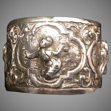 Antique Silver Oriental Decoration Napkin Ring