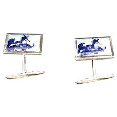 Vintage Silver Delft Cufflinks