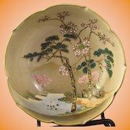Koshida Satsuma Bowl Pine and Prunus Motif