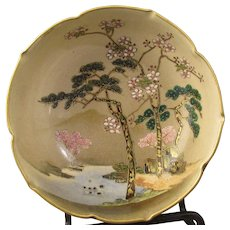 Koshida Satsuma Bowl Pine and Prunus Motif