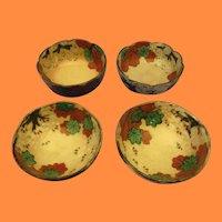 Antique Ogata Kenzan Style Plum Blossom and Maple Tea Bowls