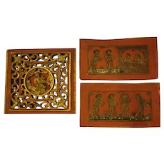 Antique Chinese Lacquered Carved Wood Panels